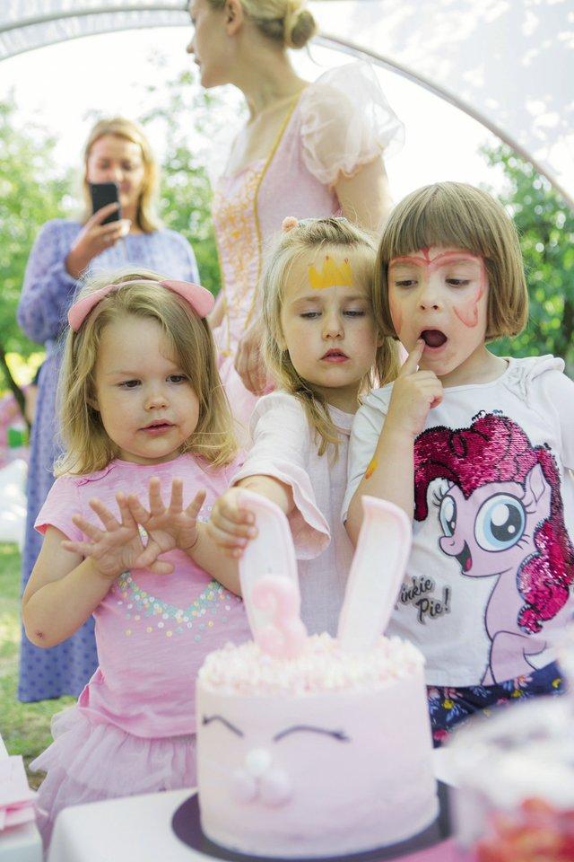 Rožinis gimtadienio tortas sulaukė visų vaikų plojimų.<br>Asmeninio albumo nuotr.