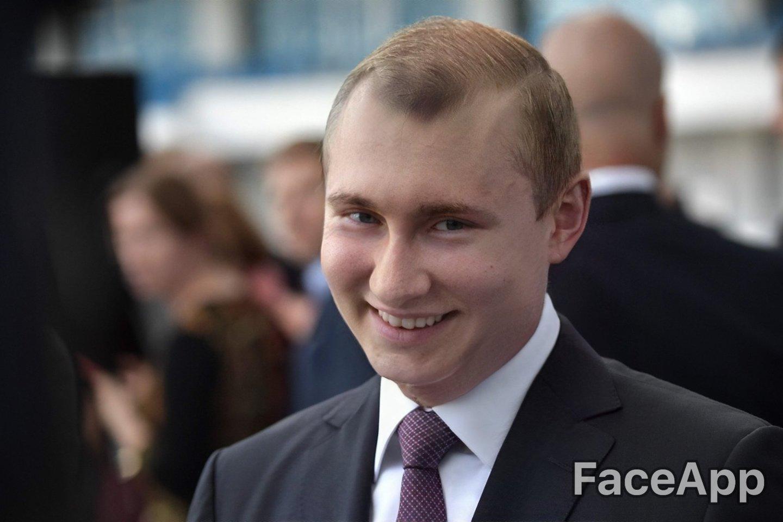 """Programėle""""FaceApp""""""""pajaunintas"""" Rusijos prezidentas Vladimiras Putinas.<br> AFP / Scanpix / FaceApp nuotr."""