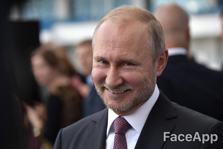 Ar taip atrodytų nesiskutęs V.Putinas?<br> AFP / Scanpix / FaceApp nuotr.