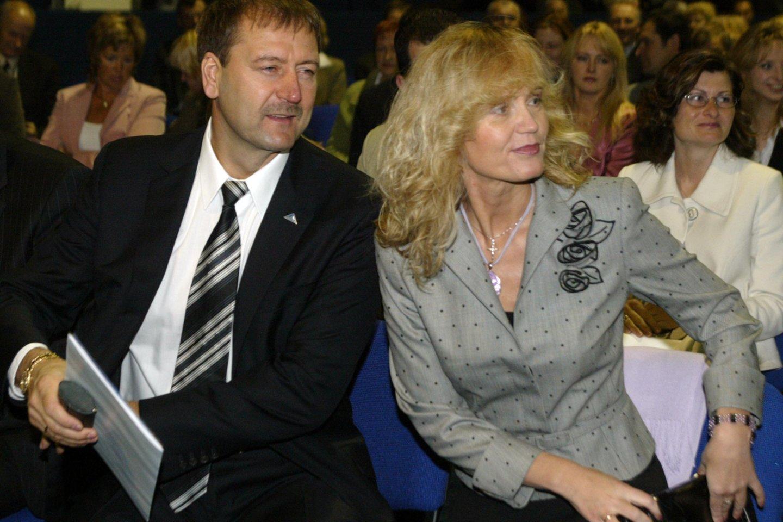 Viktoras Uspaskichas su buvusia žmona Jolanta Blažyte 2005-aisiais.<br>I.Gelūno nuotr.
