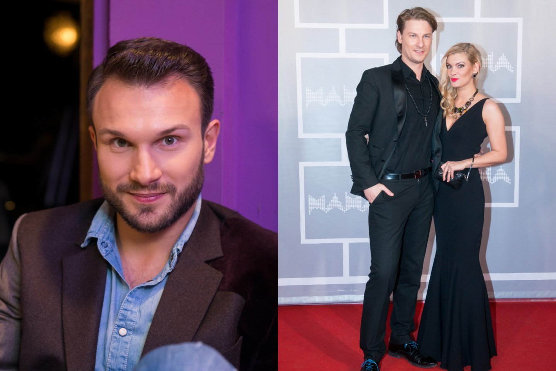 Vaidas Baumila (kairėje) ir Justinas Lapatinskas su žmona Migle.<br>LR archyvo nuotr.