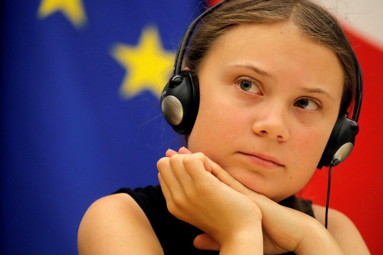 G.Thunberg debatuose su Prancūzijos parlamento nariais Nacionalinėje asamblėjoje Paryžiuje.<br>Reuters nuotr.