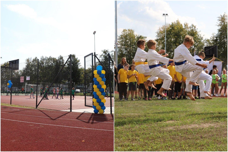 Kauno rajone, Jonučiuose, atnaujintas stadionas.<br>Lrytas.lt koliažas