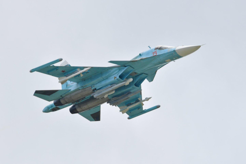Estijos kariškiai antradienį pranešė, kad pirmadienio vakarą Rusijos oro pajėgų naikintuvas Su-34 Estijos oro erdvėje netoli Baltijos jūroje esančios Vaindlo salos išbuvo mažiau nei minutę.<br>Sputnik/Scanpix nuotr.