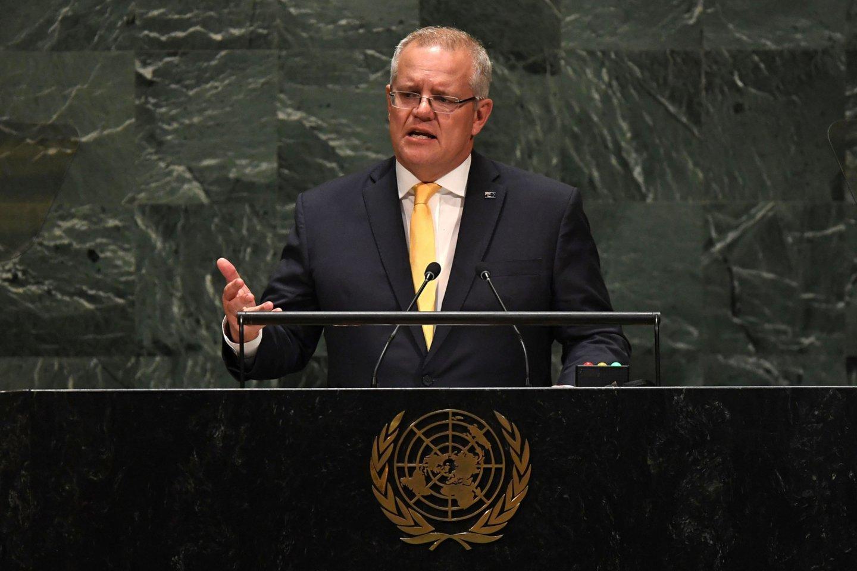 S. Morrisonas sakė, kad D. Trumpas tiesiog paprašė jo nurodyti kontaktinį asmenį šalies vyriausybėje.<br>AFP/Scanpix nuotr.