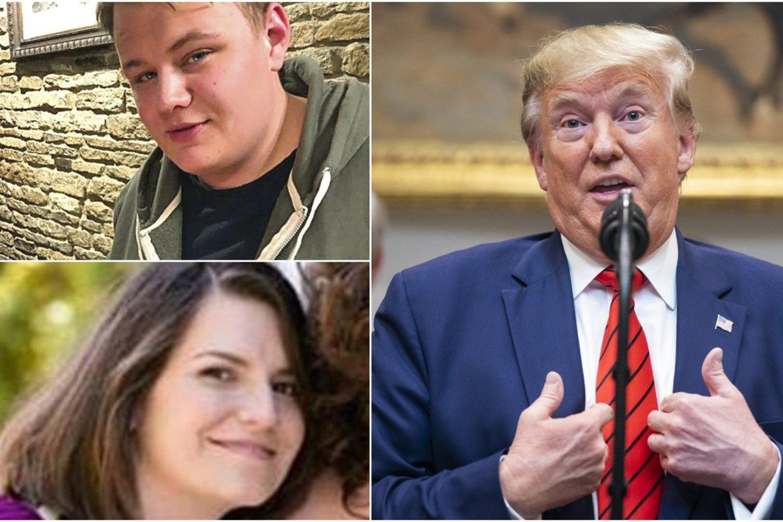 Donaldas Trumpas gina JAV diplomato žmoną, kuri Jungtinėje Karalystėje yra kaltinama avarijoje pražudžiusi paauglį. JAV prezidentas pareiškė, kad yra sudėtinga vairuoti kita kelio puse.<br>lrytas.lt koliažas.