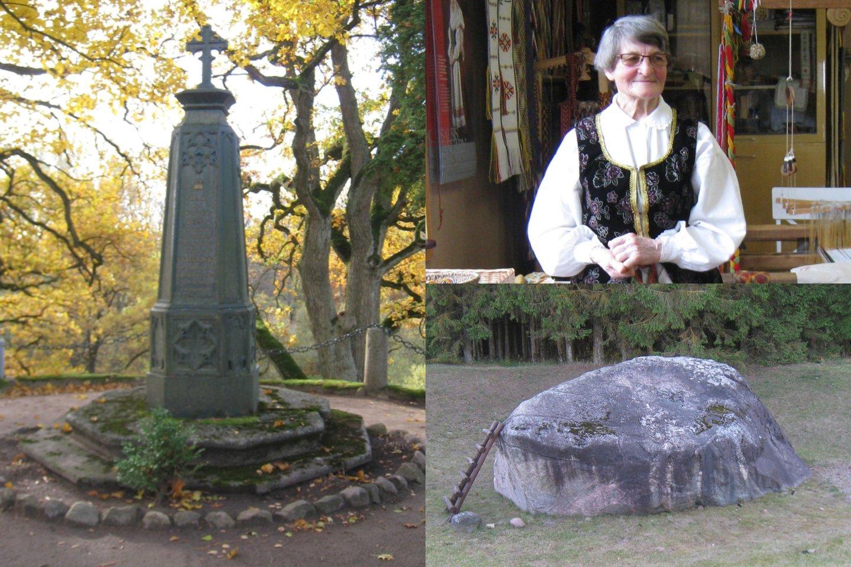 Cz.Miloszo protėvių kapas Šventybrasčio kapinaitėse, Upytės tradicinių amatų centro audėja I.O.Vilienė, Nauradų Mokas.<br>M.Augulytės nuotr.