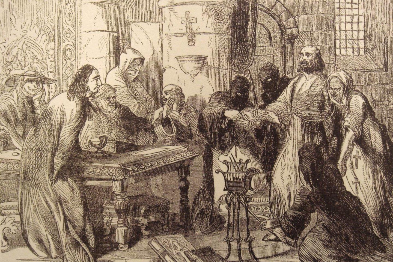 Paskutiniojo ordino magistroJacqueso de Molay tardymas. XIX a. pieš.