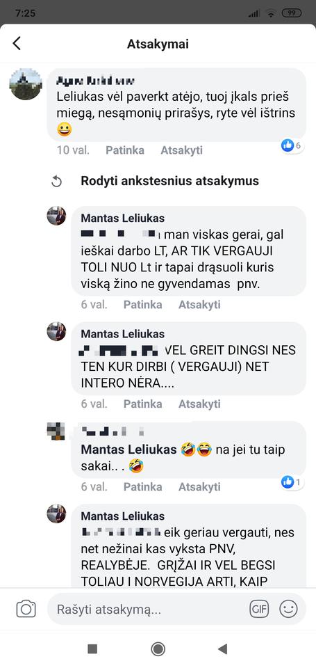 """M.Leliukas teigė, kad būtent jam komentarus rašo vakarais, galimai neblaivūs asmenys.<br>Ekrano nuotr./feisbuko grupė """"Gėdos siena PNVŽ""""."""