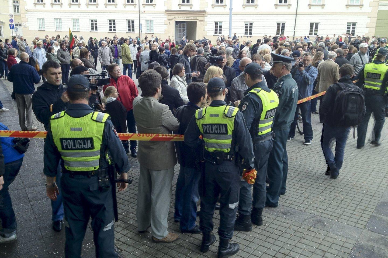 Protesto akcija dėl mergaitės perdavimo L.Stankūnaitei prie Prezidentūros. 2012 metų gegužės 17-oji.<br>V.Ščiavinsko nuotr.