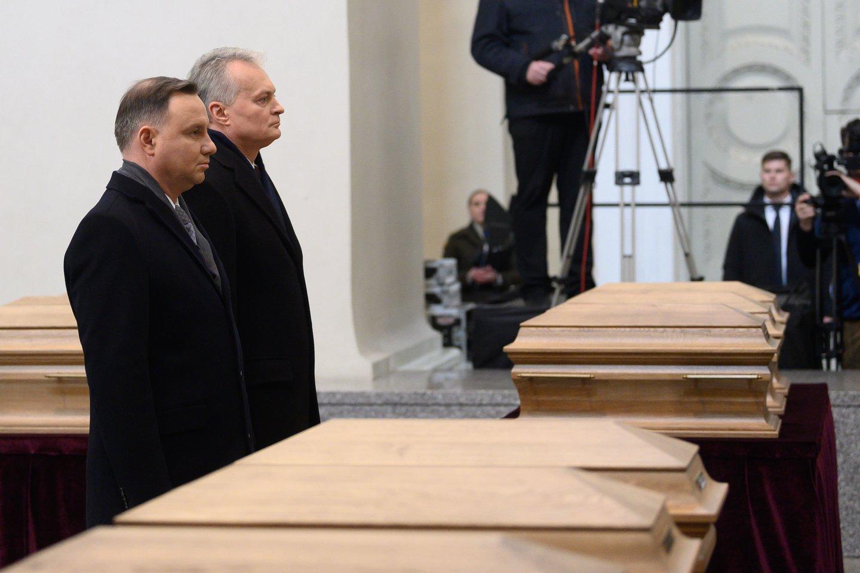 Sukilimo vadų laidotuvėse – Lietuvos prezidentas Gitanas Nausėda ir Lenkijos prezidentas Andrzejus Duda.<br>V.Skaraičio nuotr.