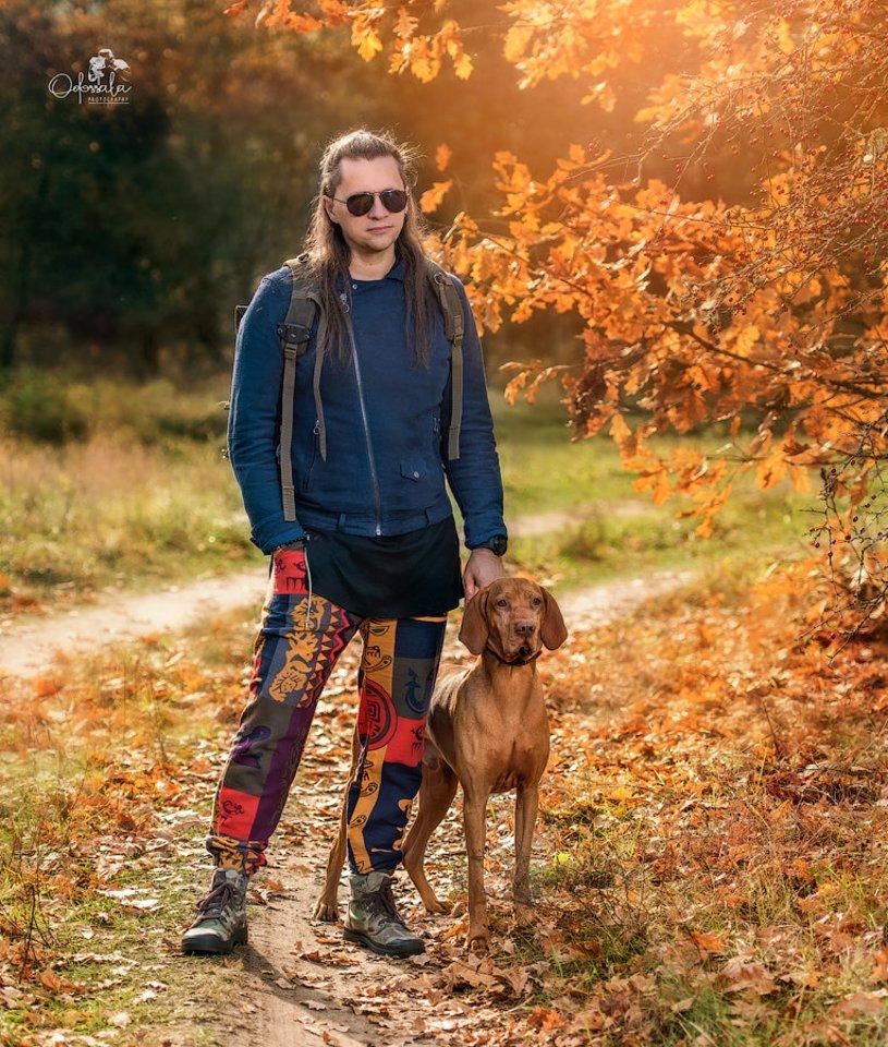 Ramūnas Grybauskas su šunimi.<br>Asmeninio albumo nuotr.