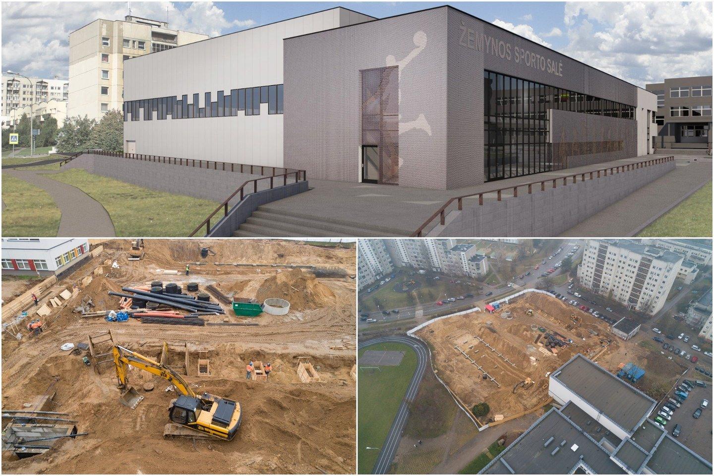 Pašilaičių rajone pradėtos trijų sporto salių komplekso statybos.<br>Vilnius.lt nuotr.