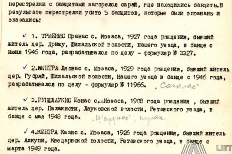 Lietuvos SSR valstybės saugumo ministerijos (MGB) Tauragės apskrities skyriaus ataskaitinio pranešimo dalis apie Šilalės valsčiaus Lentinės kaime 1949 m. spalio 19 d. įvykdytą operatyvinę-karinę operaciją., urios metu žuvo du broliai Kentros.