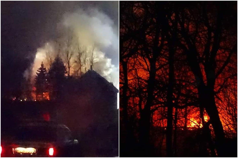 """Gausios ugniagesių pajėgos vėlų sekmadienio vakarą skubėjo į gaisrą Šilutės mieste.<br>""""Šilutės naujienos"""" nuotr./lrytas.lt koliažas"""