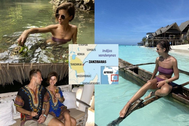 Simona Albavičiūtė-Bandita su mylimuoju laiką leido egzotiškame Zanzibare.<br>LR montažas.