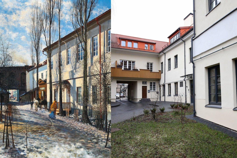 Namas Vilniaus Bokšto gatvėje 1893 ir 2020 metais.<br>LDM ir R.Danisevičiaus nuotr.