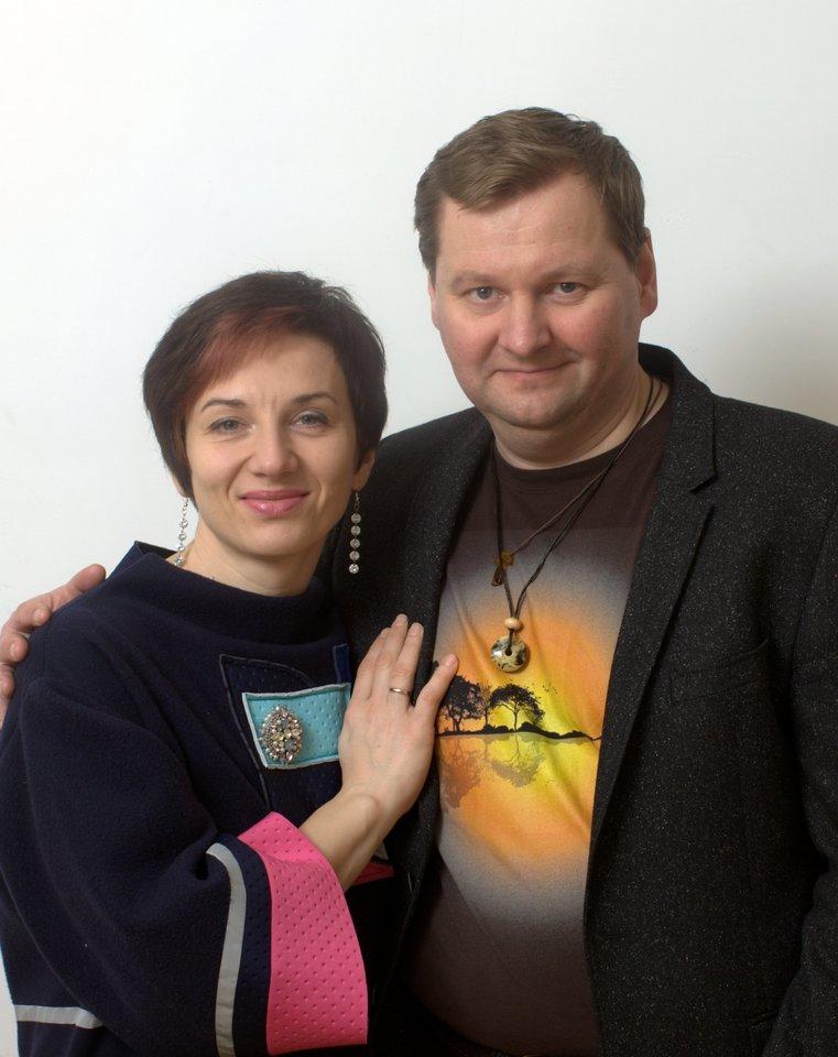 Aktorius G.Arbačiauskas su žmona.<br>R.Cikanavičiaus nuotr.