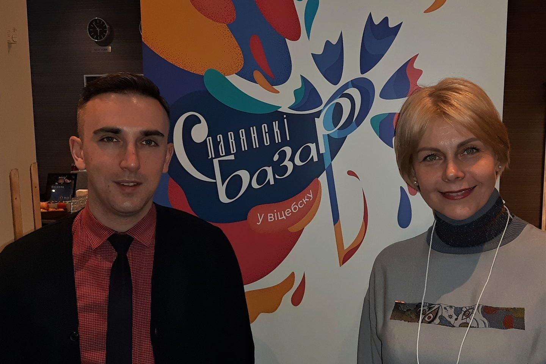 """Tarptautinio meno festivalio """"Slavianskij bazar"""" direktorius Glebas Lapickis ir muzikologė Svetlana Avdejeva.<br>G.Pilaičio nuotr."""