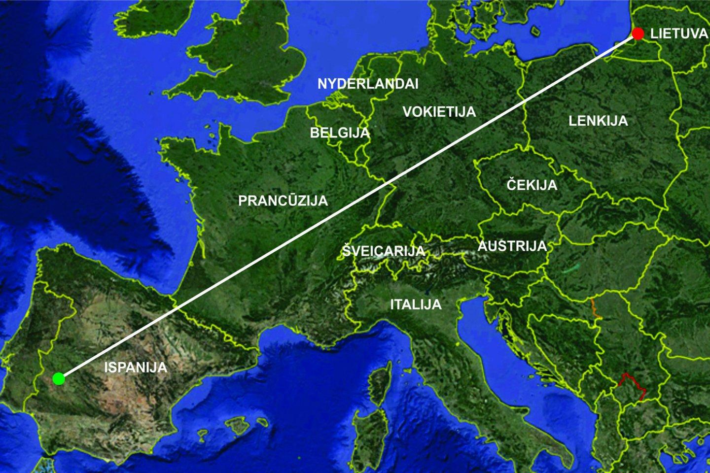 Lietuvoje žieduoto paprastojo griciuko žiedavimo vieta (raudona žymė) ir jo aptikimo vieta (žalia žymė) sujungtos linija.<br>LPŽC iliustr.
