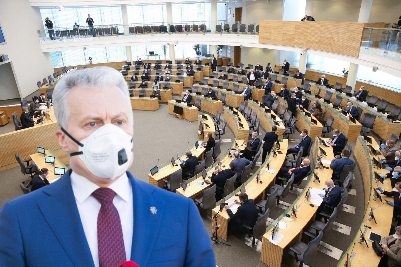 Teigiama, kad G.Nausėdos patarėjai pagrindine savo bendravimo forma su parlamentu vėl pasirinko asmeninius telefono skambučius atskiriems Seimo nariams.<br>lrytas.lt montažas.