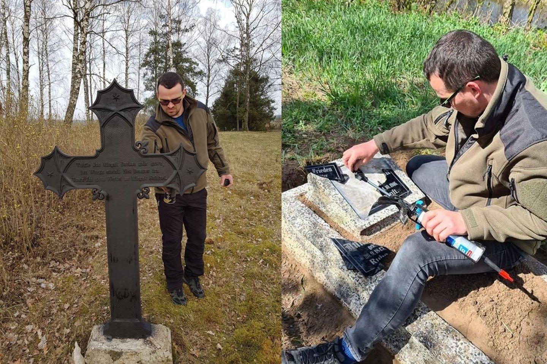 Kęstutis pradžioje senas kapines tik fotografuodavo, o vėliau ėmėsi jų tvarkymo.<br>Asmeninio archyvo nuotr.