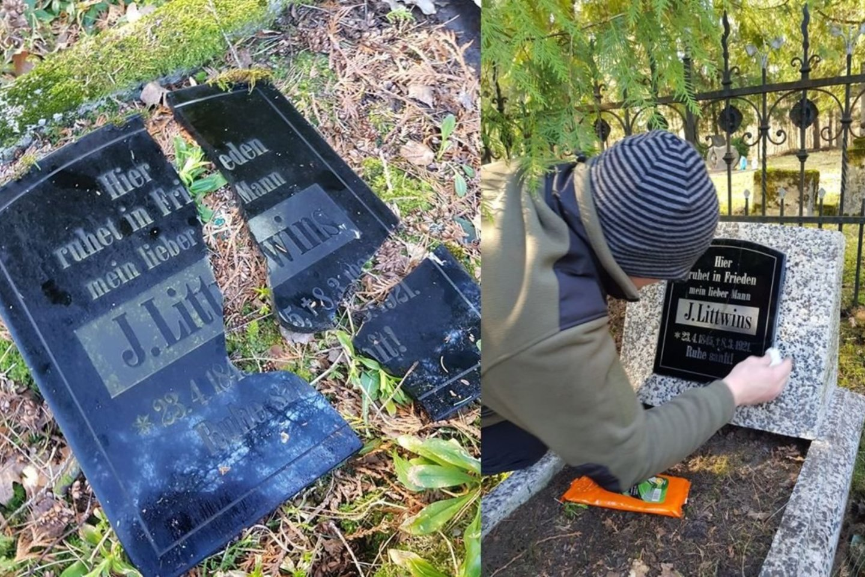 Vienas iš kelių Kęstučio sutvarkytų antkapių Kukorų kapinėse.<br>Asmeninio archyvo nuotr.