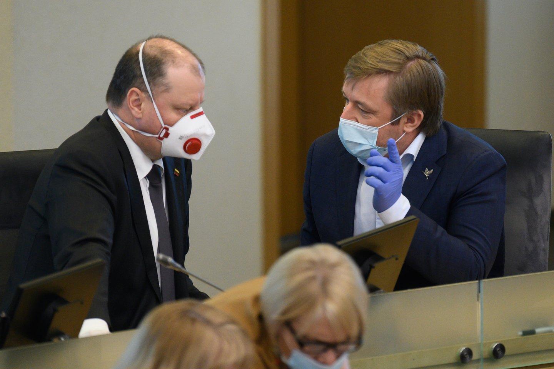 S.Skvernelis ir R.Karbauskis.<br>V.Skaraičio nuotr.