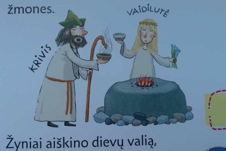 """Ne vienoje vaikams skirtoje enciklopedijoje senojo baltų tikėjimo apeigos piešiamos prie ugnies aukuro, labai panašaus į dubenuotąjį akmenį.<br>Iliustracija iš """"Kakės Makės enciklopedijos apie Lietuvą""""."""