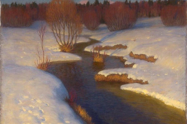 Petro Kalpoko nutapytas žiemos peizažas.<br>Asmeninio archyvo nuotr.
