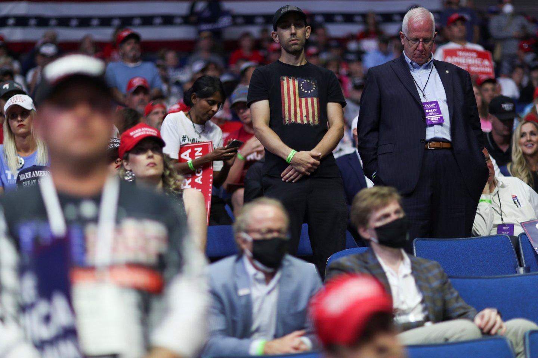 """Prie pirmojo D.Trumpo renginio Talsoje nesėkmės prisidėjo """"TikTok"""" besinaudojantys paaugliai.<br>Reuters/Scanpix nuotr."""