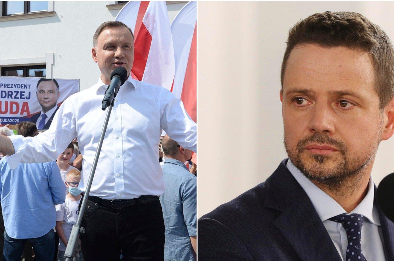 Vis dar pirmauja prezidentas A.Duda (kairėje) – už jį žada balsuoti apie 40 proc. rinkėjų, bet R.Trzaskowskis (dešinėje) mažina atotrūkį ir jau per 30 proc. lenkų pasirengę jam atiduoti savo balsą<br>AP/Scanpix nuotraukos, lrytas.lt koliažas.