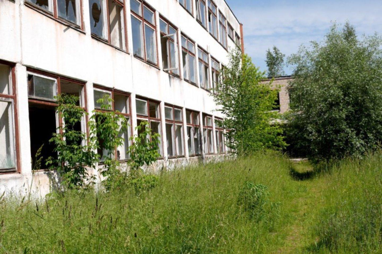 Dėl apleistų buvusios mokyklos pastatų vietos gyventojams širdį skauda.<br>A.Švelnos nuotr.