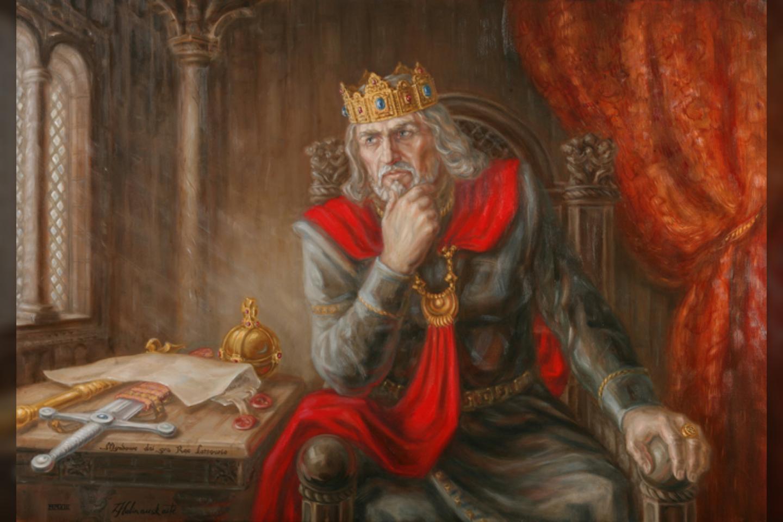 """Linos Kalinauskaitės paveikslas """"Karalius Mindaugas"""".<br>L. Kalinauskaitės pav."""