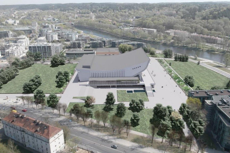 Vilniaus koncertų ir sporto rūmų pastatas pagal Sigito Kuncevičiaus projektavimo firmos projektą bus išplėstas nuo 15,6 tūkst. iki 18 tūkst. kv. m ir pritaikytas Vilniaus kongresų centro veiklai.<br>vizualizacija