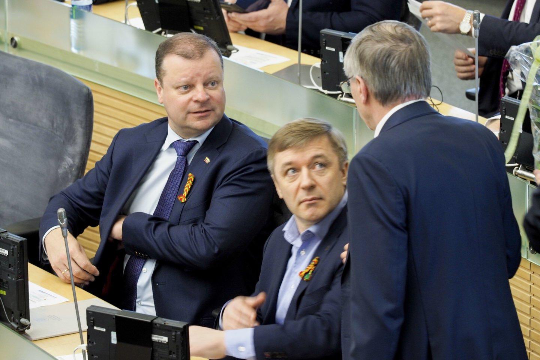 Saulius Skvernelis, Ramūnas Karbauskis, Gediminas Kirkilas<br>V.Ščiavinsko nuotr.