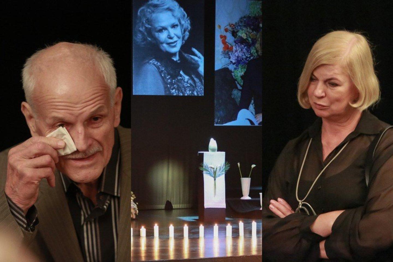 Kaune atsisveikinama su mirusia aktore Gražina Balandyte. Andrius Čygas (kairėje), Nijolė Narmontaitė (dešinėje).<br>LR koliažas