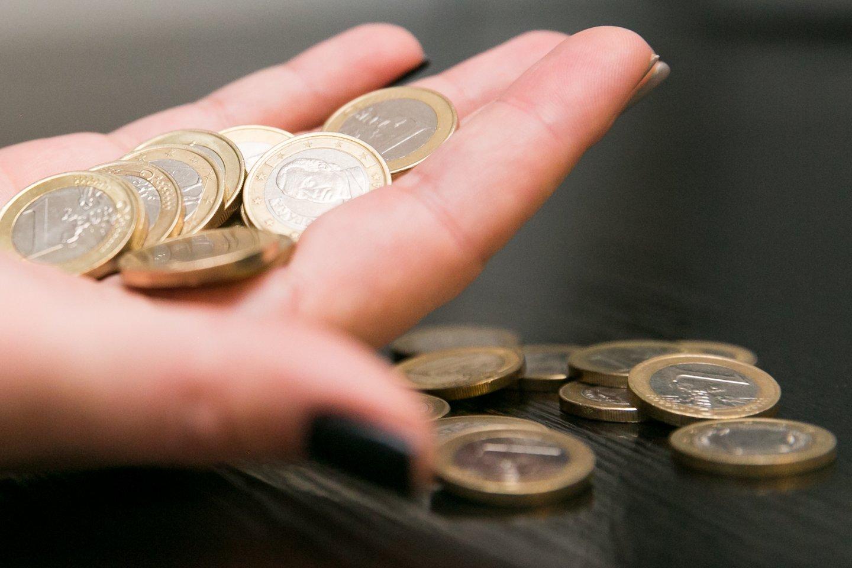 Ar jūsų vaikas pažįsta pinigus? Padėkite ant stalo 5 eurų banknotą ir saują mažesnės vertės monetų. Kurią krūvelę pasirinks jūsų vaikas?<br>T.Bauro nuotr.