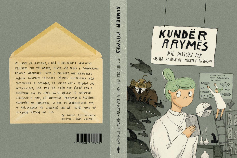"""Komiksų knyga """"Prieš srovę: žuvų draugės Sabihos Kasimati istorija"""" išleista Albanijoje."""