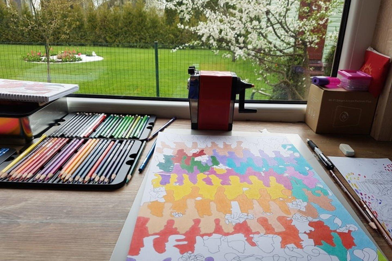 Fraktalinis piešimas –tai autorinė piešimo metodika, kur linijos piešiamos užmerktomis akimis, o gautas linijų raizginys spalvinamas.