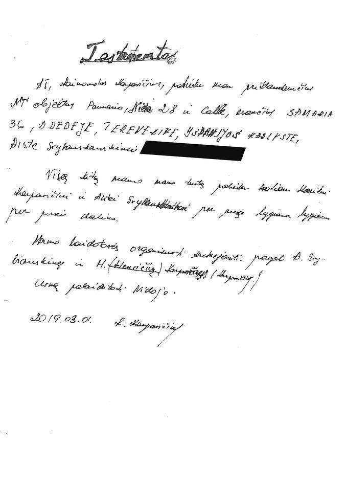 Jei šį testamentą rašė R.Karpavičius, tada kokios būklės? Jame - klaidos, pasikartojimai, skirtinga paveldėtojos pavardė.