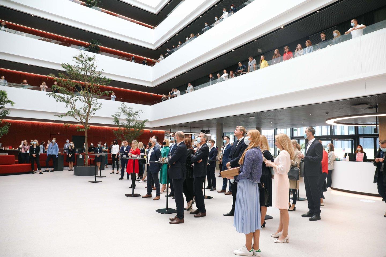 """""""Danske"""" miestelyje atidarytas naujausias """"Danske Bank"""" biurų pastatas Lietuvoje – """"DC Valley"""".<br>Bendrovės nuotr."""