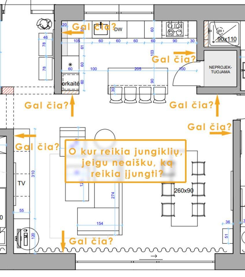 Paprastai ir greitai neįmanoma atlikti elektros instaliacijos plano.<br>Evelinos Aleliūnienės vizual.