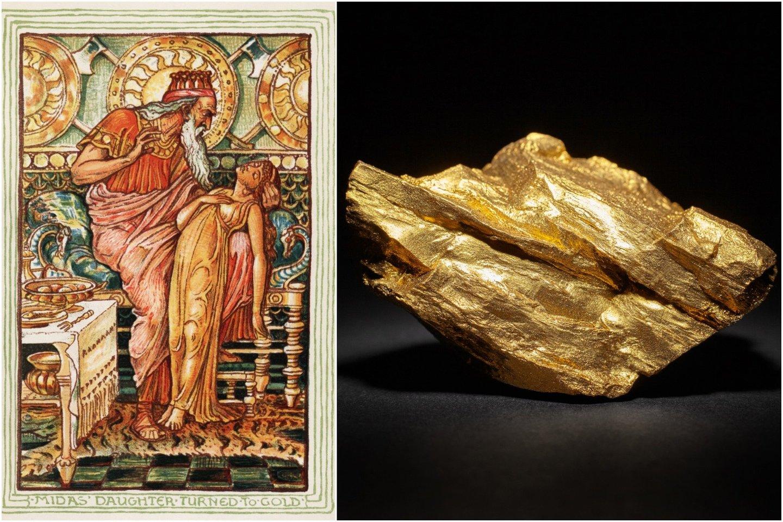 Amerikiečių rašytojas Nathanielis Gotornas vaizdingai aprašė, kaip Midas – žinoma, netyčia! – aukso statula pavertė net savo dukterį Chrizantemą.<br>Wikimedia commons / 123rf nuotr.