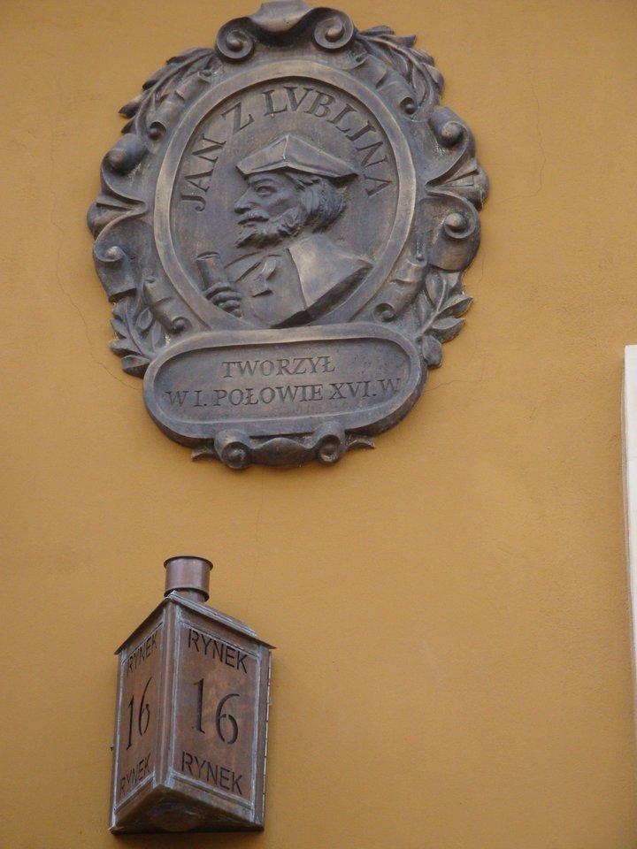 Jano Liubliniečio atminimo ženklas Liublino Turgaus aikštėje.<br>Nuotr. iš festivalio rengėjų archyvo