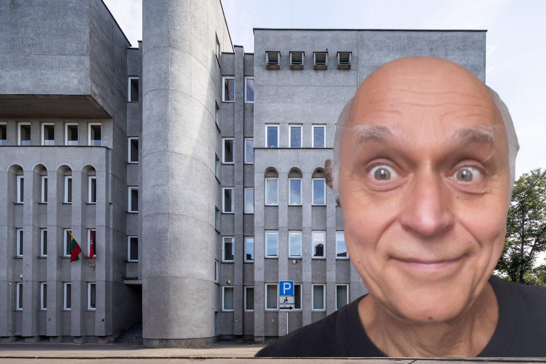 A. Blūšius ir jo projektuotas administracinis pastatas, buvęs Informacinio skaičiavimo centras Panevėžyje.<br>lrytas.lt montažas