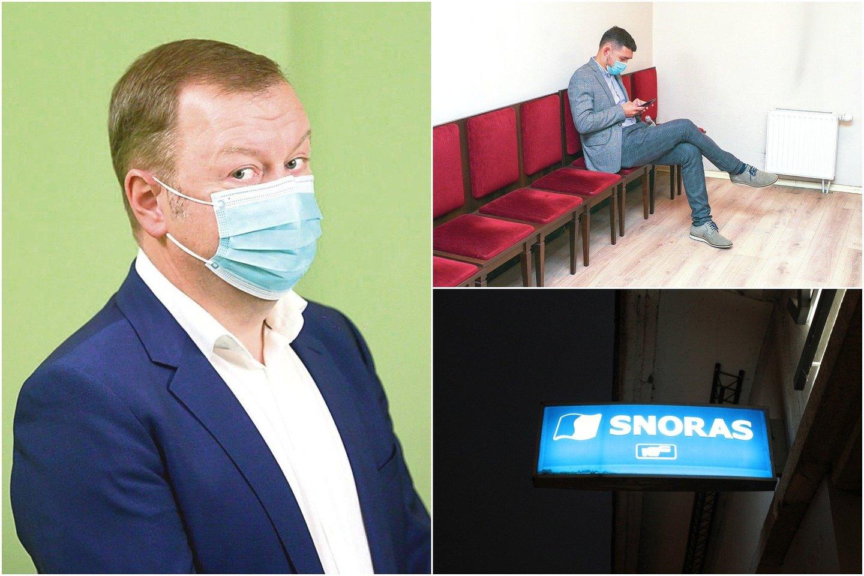 """Pirmadienį teisme liudijęs V.Griškevičius (dešinėje, viršuje) stebėjosi keistomis """"Snoro"""" viceprezidento N.Stanciko užduotimis.<br>lrytas.lt koliažas."""