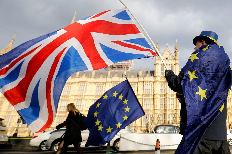 """Britų parlamentarai nepaisydami ES pasipiktinimo parėmė naują """"Brexit"""" įstatymą. <br>AFP/Scanpix nuotr."""