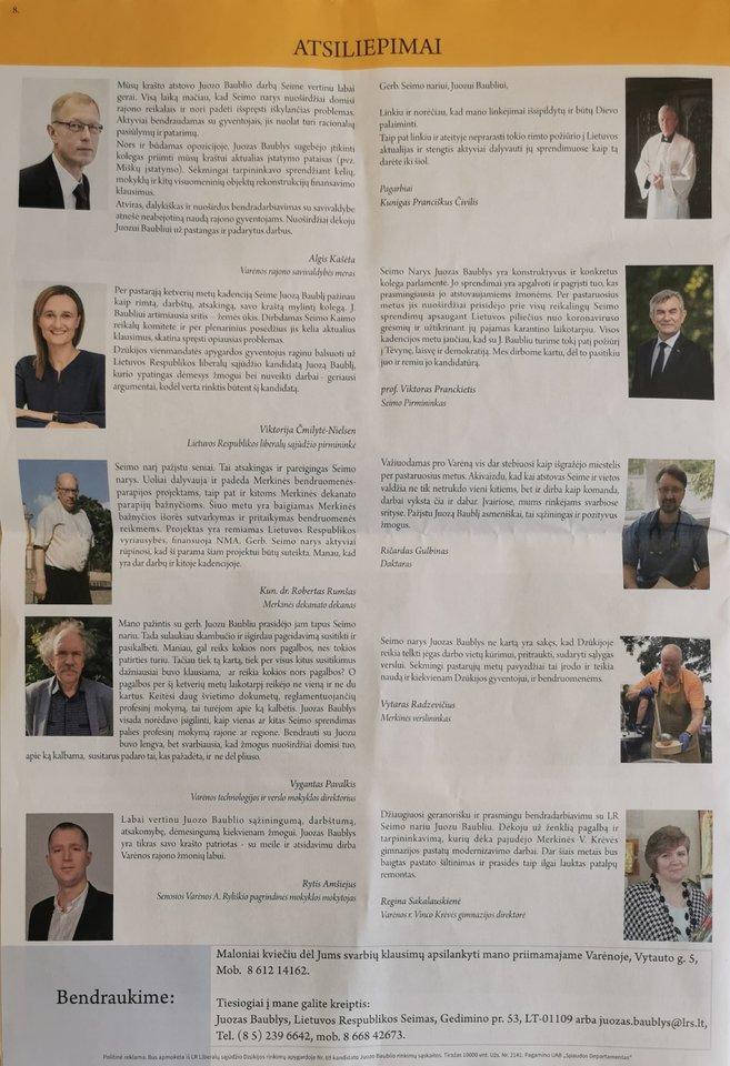 Seimo nario Juozo Baublio veiklos ataskaita – rinkimų agitacijai skirtas leidinys.