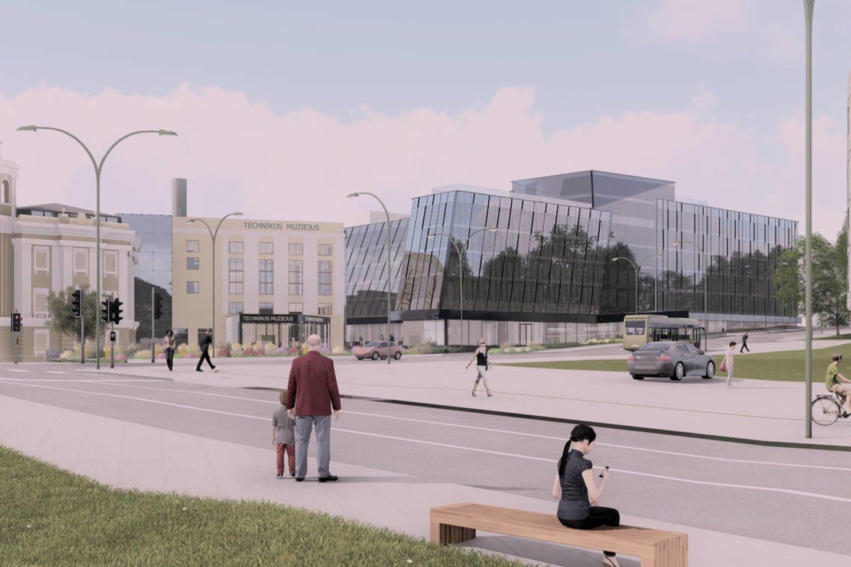 """Žiniasklaida rugsėjį pranešė, kad """"Vičiūnių grupė"""" nusprendė """"Hilton"""" viešbučio statybos pabaigą nukelti mažiausiai į 2021 metus.<br>Vizualizacija"""